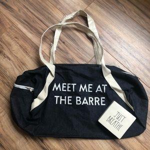 NWOT Meet me at the Barre Yoga Ballet Duffle Bag
